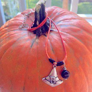Witch Hat 🧝🏽♀️ obsidian gemstone Necklace